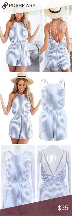 "Striped Seaside Romper Beautiful blue and white striped seaside romper. This romper is so gorgeous!! High neck. Strappy backless design. Linen fabric. True to size. Small: Length from armpit to hem: 20"" Bust: 34"" Pants Jumpsuits & Rompers"