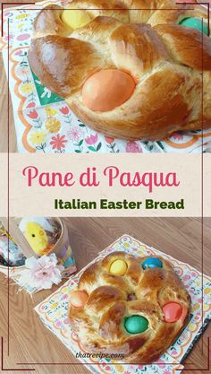 Pane di Pasqua, Italian Easter Bread, is a fluffy sweet bread traditionally in a. Pane di Pasqua, Italian Easter Bread, is a fluffy sweet bread traditionally in a wreath shape with brightly colored eggs baked inside. Easter Bread Recipe, Easter Recipes, Holiday Recipes, Dessert Recipes, Recipes Dinner, Buffet Recipes, Spring Recipes, Italian Easter Bread, Italian Easter Cookies