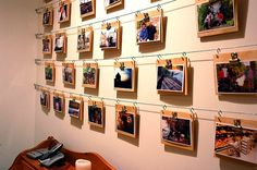 cord, hooks, clips, board, and family vacation photo for display idea
