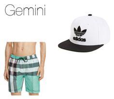 """Gemini Swim wear Zodiac truth or dare"" by idaho-potato on Polyvore featuring adidas Originals, Burberry, men's fashion and menswear"