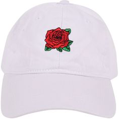 Armitage Avenue Rose Baseball Hat ($19) ❤ liked on Polyvore featuring accessories, hats, beanies and hats, snapbacks/caps, white, snapback cap, beanie hat, embroidered baseball hats, snap back hats and white snapback hats