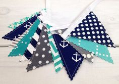 Bunting Banner Mini, Fabric Banner, Fabric Flags, Nautical Baby Nursery Decor - Anchors, Gray, Turquoise, Navy Blue, Chevron, Dots, Grey