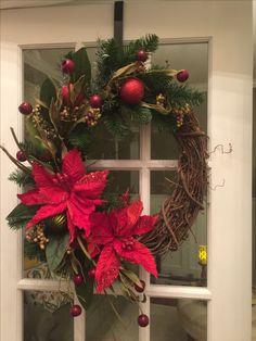 double poinsettia grapevine wreath