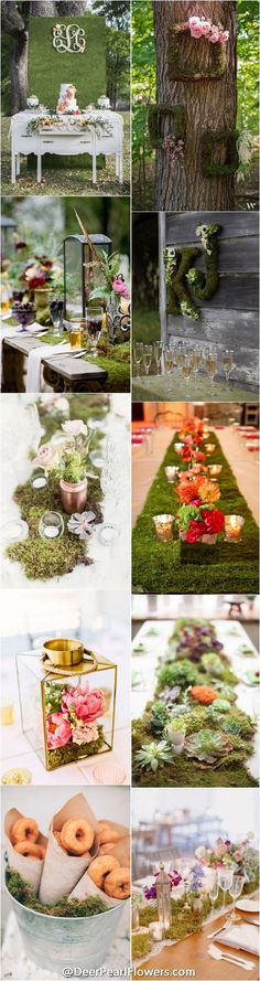 Rustic country green moss wedding ideas  / http://www.deerpearlflowers.com/moss-decor-ideas-for-a-nature-wedding/