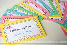 """Open when"" letters. Perfect graduaction or summer camp take along."
