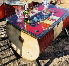 Oil Drum Coffee Table #upcycled #recycled #mancave #petroliana Drum Coffee Table, Metal Drum, Oil Drum, Tonne, Cafe Restaurant, Vintage Industrial, Man Cave, Drums, Garden Ideas
