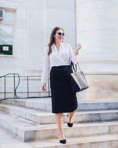 A Wrap Bodysuit Fit for the Office - Hard Alee Work Week, Thank God, The Office, Business Casual, Midi Skirt, Bodysuit, Boohoo, Long Sleeve, Fitness
