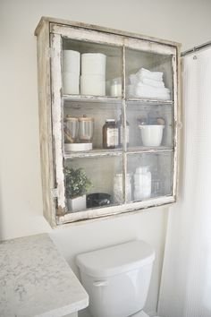 Upcycled Over-Toilet Bathroom Storage Cabinet using an old window. Rustic Farmho… Upcycled Over-Toilet Bathroom Storage Cabinet using an old window. Old Window Projects, Home Projects, Old Window Ideas, Repurposed Window Ideas, Recycled Door, Old Window Frames, Recycled Windows, Repurposed Shutters, Pallet Projects