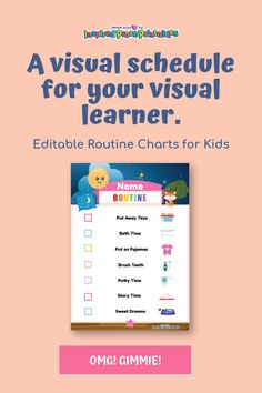Visual schedules provide structure and helps make switching between tasks less hectic because kids can see exactly what comes next. Whether you're teaching autistic students or simply organizing activities for autistic kids at home you can use this template to create an easy to follow routine. Daily Schedule Kids, Daily Schedule Template, Autistic Children, Children With Autism, Bedtime Routine Chart, Chore Chart Kids, Charts For Kids, Visual Schedules, Kid Names