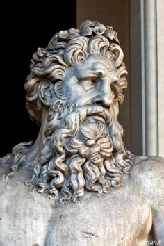 Detail - Imperial Roman period sculpture of a river god. hadrian6: The River Tiber. Vatican museum.