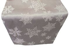 "Christmas Snowflake Damask Table Runner - Silver 14"" x 70…"