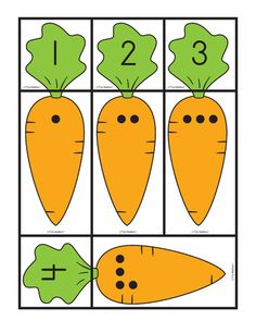 Carrot Card's: matching sets and numbers, Lesson Plans - The Mailbox Preschool Learning Activities, Easter Activities, Toddler Learning, Preschool Worksheets, Book Activities, Preschool Activities, Abc Coloring Pages, Learning Numbers, Math For Kids