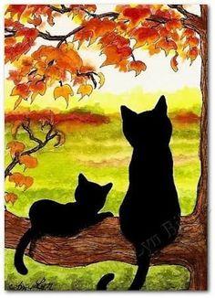 """Black Cats in Autumn Landscape"" par AmyLyn Bihrle – Malerei Fall Canvas, Easy Canvas Art, Small Canvas Art, Easy Canvas Painting, Autumn Painting, Autumn Art, Black Cat Art, Black Cats, Oil Pastel Art"