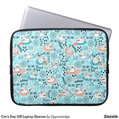 Cat's Day Off Cute Cat Pattern Laptop Sleeve #ad #laptopsleeves #catpattern #catlovers
