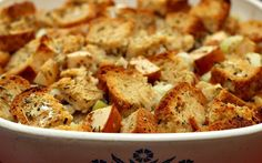 <p>Fluffy cubes of garlicky bread, savory onions, crunchy pieces of fresh celery, and fresh juicy apple … this stuffing is going to become your favorite holiday dish! </p>