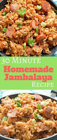 This 30 Minute Jambalaya Recipe has just the right amount of heat and is perfect for feeding a large crowd! Ad is part of Jambalaya recipe - Homemade Jambalaya, Cajun Recipes, Chicken Recipes, Cooking Recipes, Cajun Food, Paleo Dinner, Healthy Dinner Recipes, Yummy Recipes, Rice