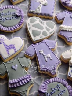 Lavender baby shower sweet treat ideas, including purple and silver cookies.