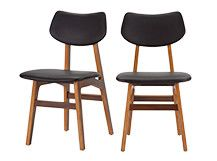 2 x Jacob Dining Chairs, Coal Black and Walnut