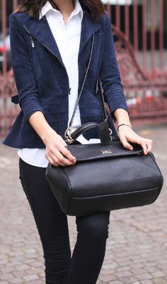 black w/a blue suede blazer