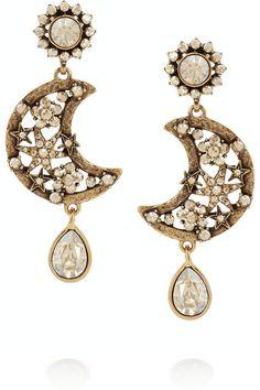 Oscar de la Renta Lunar gold-plated crystal clip earrings NET-A-PORTER.COM