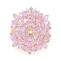 Bague Fleur pour femme sertie de Saphirs rose de Ceylan et de Diamants - Bijoux en or - Juwelo Bijouterie en Ligne