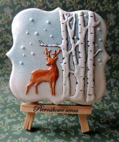 Зимний березовый лес, олень, снег Gingerbread Сердце по: