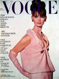 Jean Shrimpton Vogue Cover - Pale Pink Gown and Opera Gloves 1963