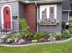 Beautiful Flower Garden Design For Spring Front Yard at Your Home Flower Bed Designs, Flower Garden Design, Home Garden Design, Yard Design, Home And Garden, Flower Gardening, Front Design, House Design, Spring Garden