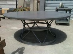 Another concrete topped table. Concrete Royal Cage Table Galvanized Base with Concrete Top Also Available as 60