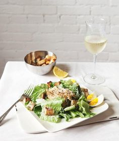 Chicken Recipe : Caesar Salad with Rosemary Ciabatta Croutons + Grilled Chicken