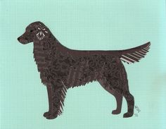 Flat Coated Retriever Cut Up by CanineCutUps on Etsy, $35.00