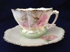 RS Prussia Tea Cup Saucer Ruffled Floral Flowers Pink Poppy Mold