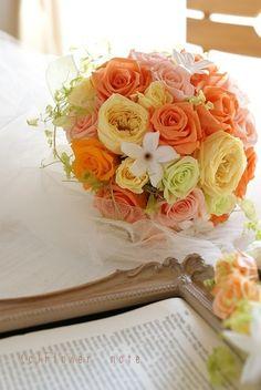 『オレンジナチュラル ブーケ&花冠』 http://ameblo.jp/flower-note/entry-11090440868.html