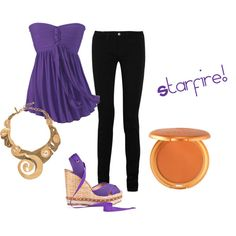 Starfire from Teen Titans outfit! :D Id probably wear a purple hoodie, not that shirt though
