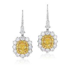 yellow and white diamond earrings, David Mor Jewelry