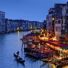Gondolas along the Canal in Venice, Italy.