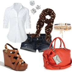 To buy: button up shirt, animal print scarf, nude heels, and colorful bag