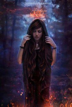 Dama do Fogo. Rainha das Chamas. Bruxa do Fogo. Feiticeira. Encantatrix. Ninfa Elemental. - Arte por Vampire Darlla (deviantArt)