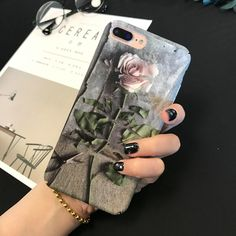 Retro Flower Iphone 6, Iphone Cases, Cartoon Rose, Floral Iphone Case, Hard Phone Cases, Romantic Roses, Retro Flowers, Vintage Roses, 7 And 7