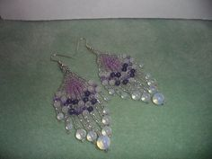 Crystal Feather Earrings, I made for a contest.
