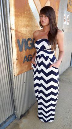 Navy Slinky Zig Zag Maxi | The Rage  LOVE this maxi dress, so adorb!