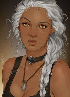 Human female fantasy character, POC white or silver hair and gold eyes Black Characters, Dnd Characters, Fantasy Characters, Female Characters, Character Portraits, Character Drawing, Art Watercolor, Female Character Inspiration, Female Character Concept