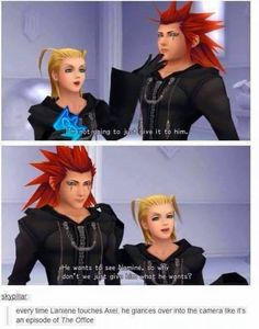 Kingdom Hearts Chain of Memories Larxene and Axel funny Kingdom Hearts Funny, Kingdom Hearts Games, Kingdom 3, Kingdom Hearts Fanart, Axel Kingdom Hearts, Kh 3, Collateral Beauty, Kindom Hearts, Final Fantasy