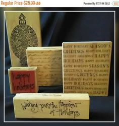 cij Holiday Rubber Stamps 5 Holiday Greeting Stamps Card