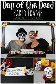 Home. Made. Interest. | Day of the Dead Party Frame | http://www.homemadeinterest.com This Day of the Dead Party Frame is the perfect photo prop for your Halloween party!