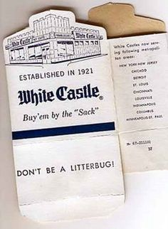WHITE CASTLE- before we had mcdonalds, burger king, wendys or any other- there was WHITE CASTLE- These are the boxes I remember!