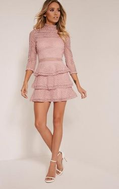 PRETTY LITTLE THING - Caya Dusty Pink Lace Panel Tiered Mini Dress-4, Dusty Pink -…