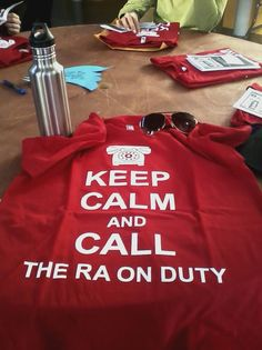 thatralauren:    resident-crafter:    Look at the spiffy shirts we got today at the first day of training!    RA Appreciation Day shirts? Yes please!