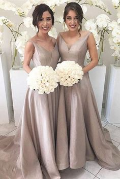 V-neck Sleeveless High Low Sweep Train Bridesmaid Dresses,Silver Party Dresses,M29