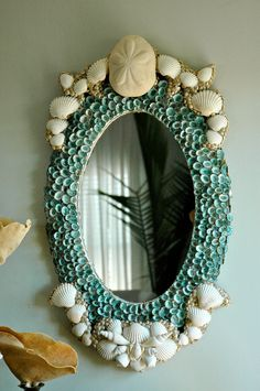 Turquoise Shell Mirror. One of the few shell mirrors that pull it off seashell, coastal, beach, shabby, DIY